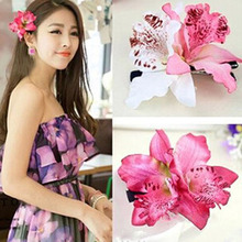 1PC New Gift Sand beach Women Chic Fashion Flowers Hair Clips Hot Handmade Fake Butterfly Orchid barrette