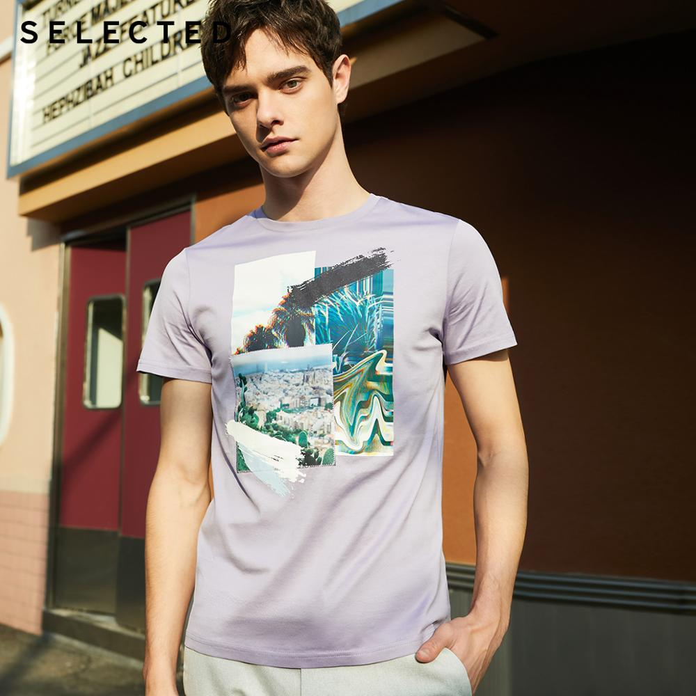 SELECTED Men's 100% Cotton Printed Short-sleeved T-shirt S|419201560
