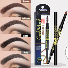 Novo 2 In 1 Triangle Eyebrow Tattoo Pencil with Brush Makeup Tint Eye Brow Pen W