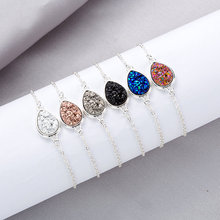Water Drop Resin Druzy Drusy Bracelet for Women Gift Faux Natural Stone Adjustable Silver Chain Jewelry Fashion 2019