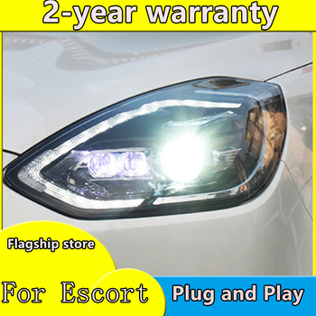 car styling For Escort headlights 2019 2020 h7 Bi Xenon Beam Lens Projector Dynamic Turn Signal LED DRL