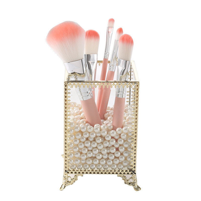 Box Jewelry-Box Makeup-Brush-Organizer Cosmetic-Storage-Box Glass Pencil-Bucket Desktop