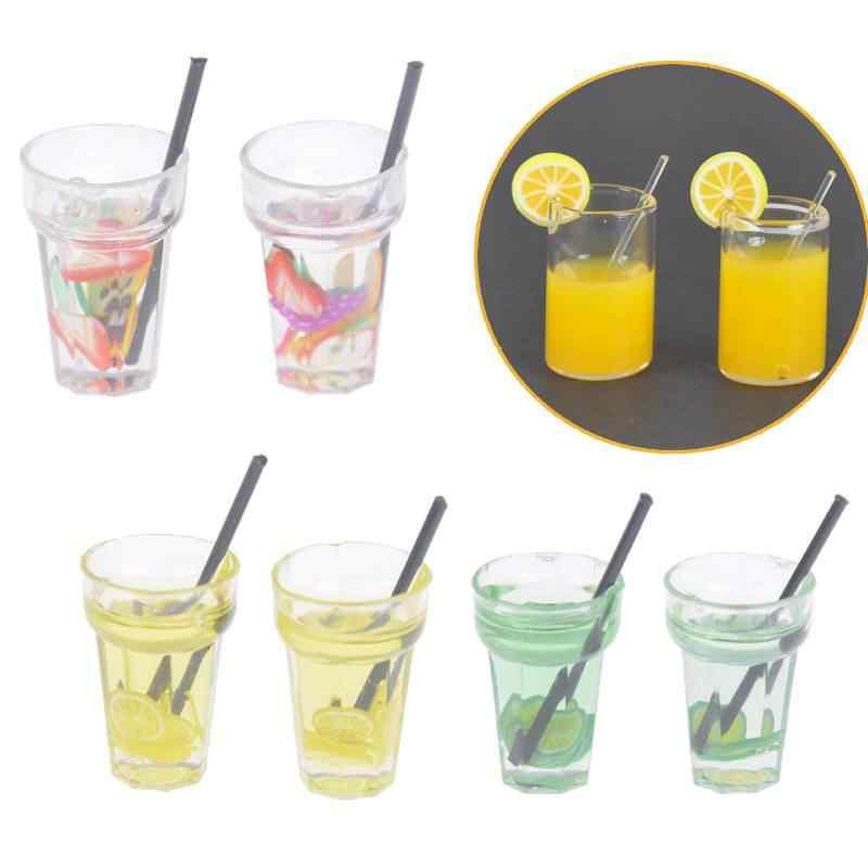 Мини Смола бутылка для фруктов моделирование напитки модель игрушки фруктовый напиток играть кукольный домик аксессуары 2 шт 1/12 миниатюрная игрушечная еда