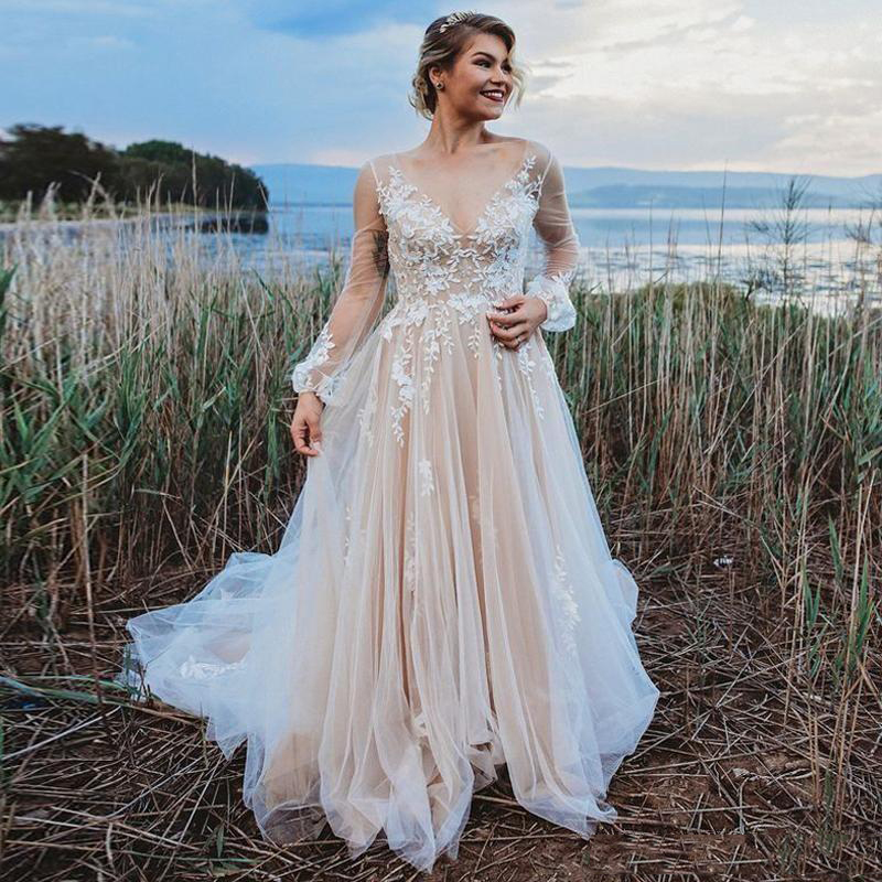 Smileven Champagne Wedding Dresses Long Sleeve Lace Appliques Boho A Line Bridal Gowns Sexy V Neck Wedding Gown Vestide De Noiva