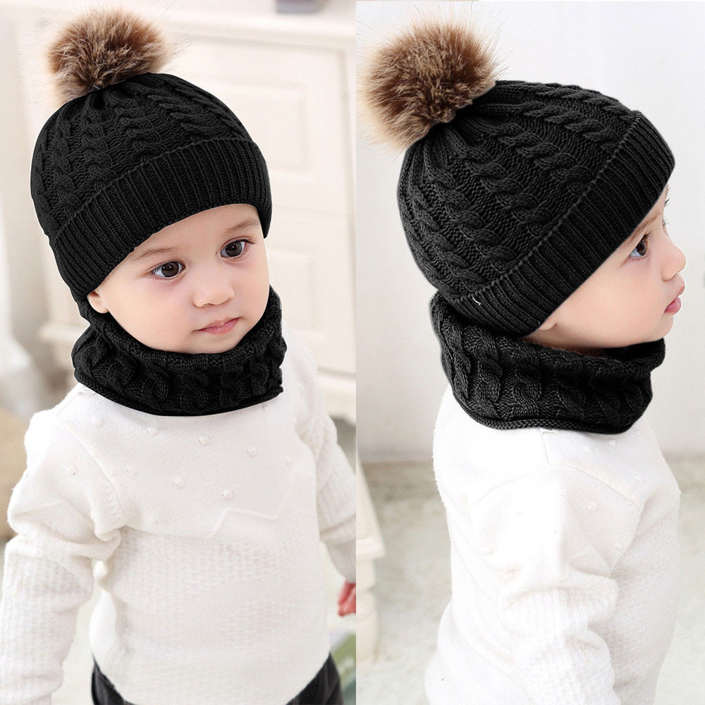 Newborn Toddler Baby Girls Boys Hats Warm Winter Knitted Wool Hemming Hat Cap CW