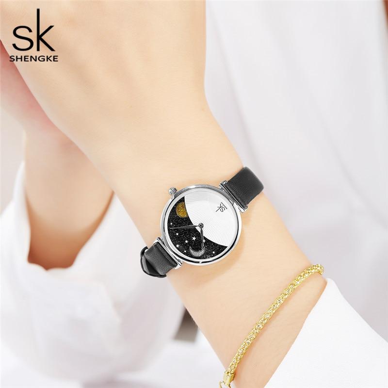 Shengke Brand Fashion Black Quartz Women Watches Lady Creative 2019 SK High Quality Leather Strap Waterproof Quartz Watches Gift in Women 39 s Watches from Watches