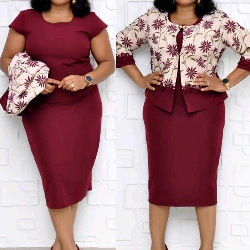 4XL Plus Size Autumn Woman 2 Pieces Sets Bodycon Dress+Floral Printed Coat Causal 2 Pcs Large Size Suits Woman Clothnig Set thumbnail