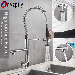 Bright Chrome Spring Pull Down High Kitchen Faucet Hands Sprayer Head with Lock Hot cold Water Kitchen Mixer Tap Swivel Spout
