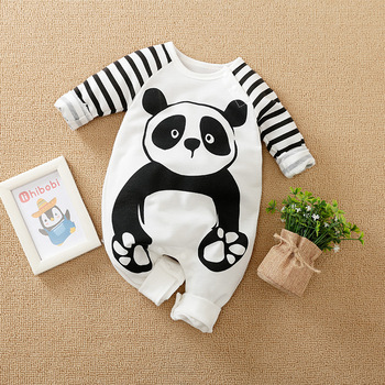 Baby Boy Romper Jumpsuit Organic Cotton New Born Little Girl Clothes Fall Children Overalls Newborn Boutique Panda Costume image
