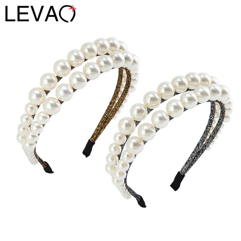 LEVAO Double Pearl Headband Glitter Diy Hairband Bezel Ladies Turban For Women Elegant Girls Hair Accessories Head Hoop Headwear