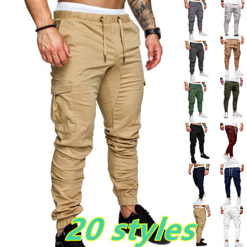 Mens Cargo Pants Joggers Sweatpants Casual Male Sportswear Solid Multi-pocket Trousers Pants pantalones