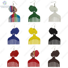Drop-Earrings Jewelry Wooden African-Head Colorful Ear-Loops Print-Design Vintage Women