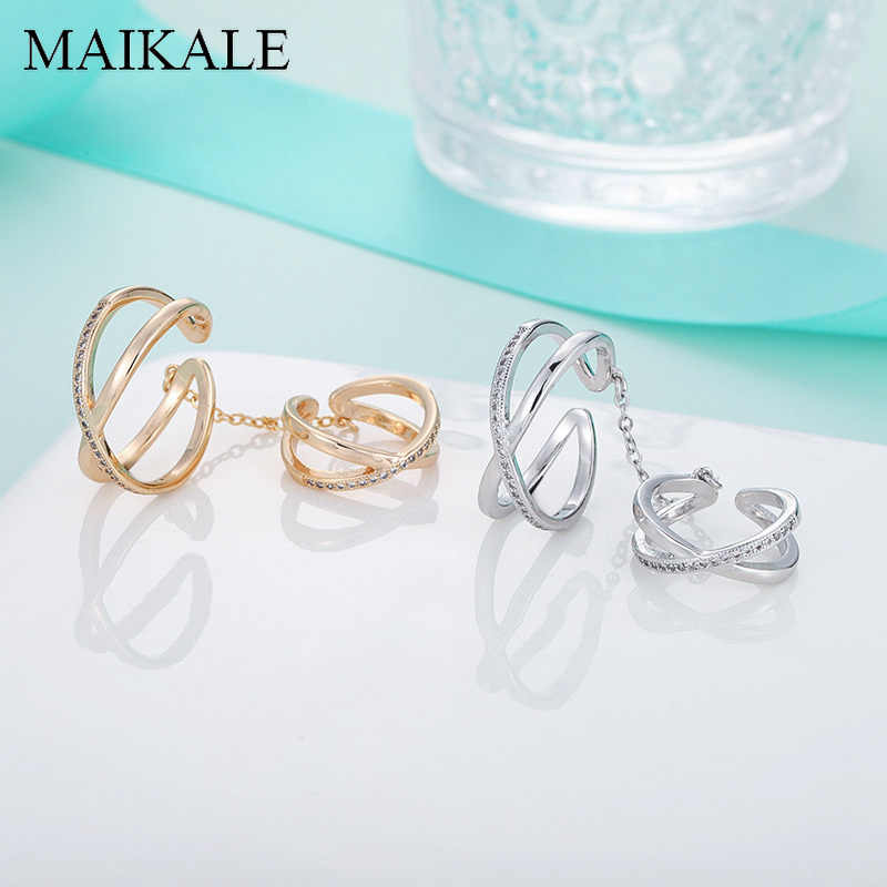 MAIKALE Luxury Gold/Silver Plated Zircon Ring Sets for Women Two Rings Link By Chain Finger Wedding Ring Set Party Jewelry Gifts