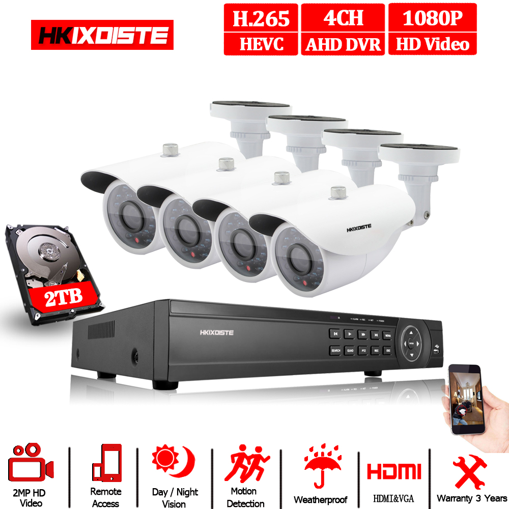 1080N HDMI DVR 2MP 1080P HD Outdoor Home Security Kamera System 4CH CCTV Video Überwachung DVR Kit AHD Kamera set nacht vision