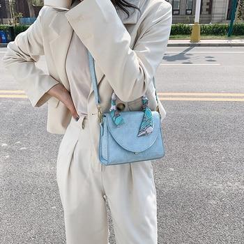 Lady Handbag Luxury Brand Portable Cowhide Small Square Bags 2020 Women Scarf Design PU Leather Shoulder Bags Crocodile Pattern
