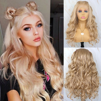 Beautiful Diary Blonde Wavy Wigs 13x6 Futura Hair Synthetic Lace Front Wig Heat Resistant Synthetic Hair Wig For Black Women ivyna golden mixed blonde synthetic lace front wig 13x6 futura heat resistant hair long wavy lace front wig highlight yellow wig