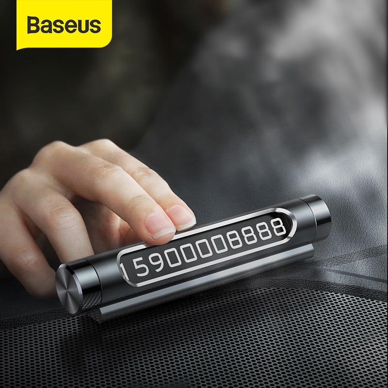 Baseus coche tarjeta de estacionamiento temporal luz teléfono número placa Auto pegatinas estilo cajón coche-estilo interruptor basculante