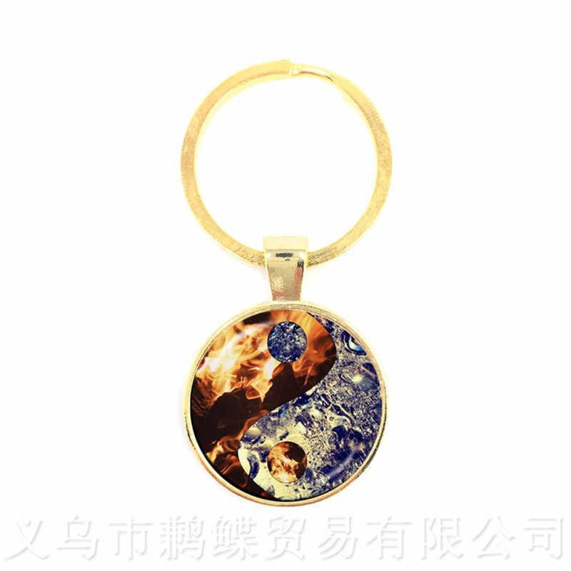 Yin Yang Portachiavi In Vetro Cabochon Chiave Anello Cupola di Vetro Portachiavi Cina Tia Chi Monili Yin-Yang Dei Monili del Drago Gatto Portachiavi