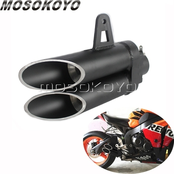 Universal Racing Motorcycle Exhaust Silencer 51mm Double Holes Muffler Pipe for Z800 Z1000 ZX10R Kawasaki Suzuki Honda CBR CB motorcycle exhaust pipe muffler inlet 51mm carbon fiber exhaust pipe motorcycle escape for suzuki gw250 kawasaki z750 z800 r6