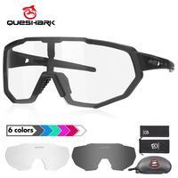 Queshark novo design photochromic ciclismo óculos para homem mulher bicicleta óculos de sol 4 lente espelho uv400 goggle qe42