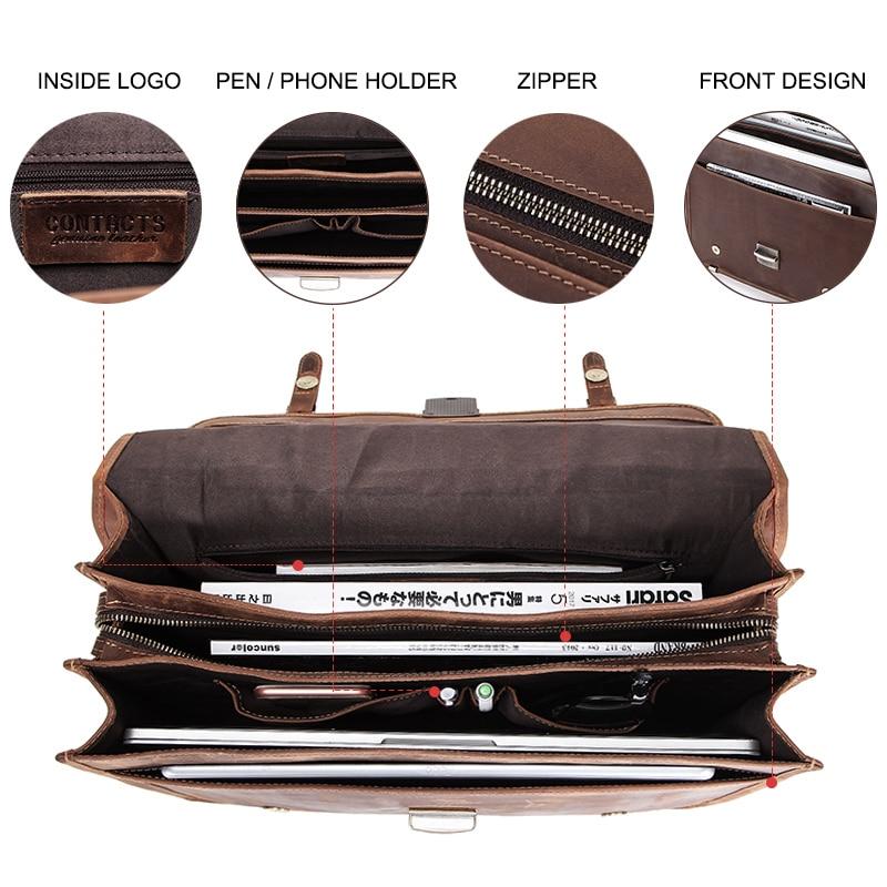 CONTACT'S Men's Bag Crazy Horse Leather Briefcase Men Business Bag For 14 4