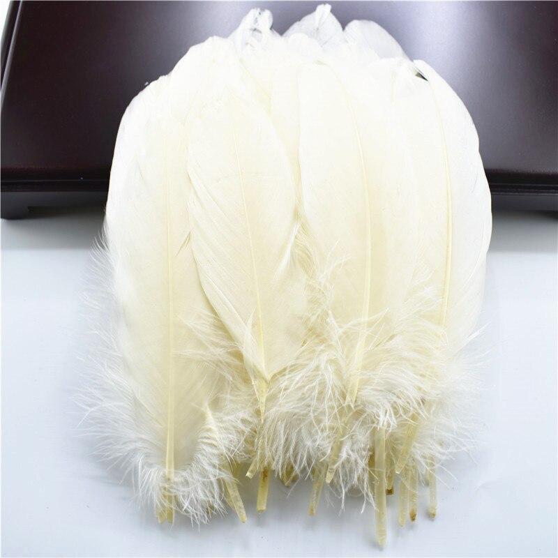 Жесткий полюс, натуральные гусиные перья для рукоделия, 5-7 дюймов/13-18 см, самодельные ювелирные изделия, перо, свадебное украшение для дома - Цвет: Off White