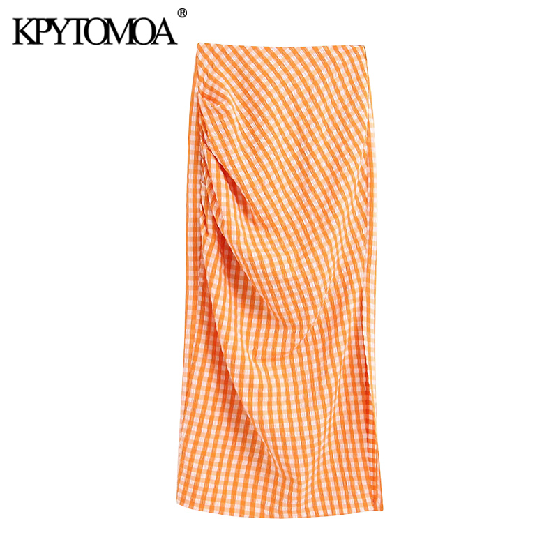 KPYTOMOA Women 2020 Chic Fashion Office Wear Plaid Skirt Vintage High Waist Side Zipper Slit Female Skirts Casual Faldas Mujer