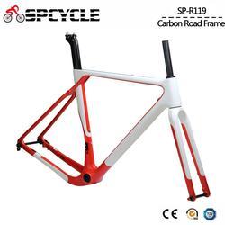 Spcycle t1000 carbono cascalho quadro de bicicleta aero carbono cyclocross bicicleta quadro bb386 freio a disco estrada bicicleta conjunto de quadros max pneu 700 * 40c