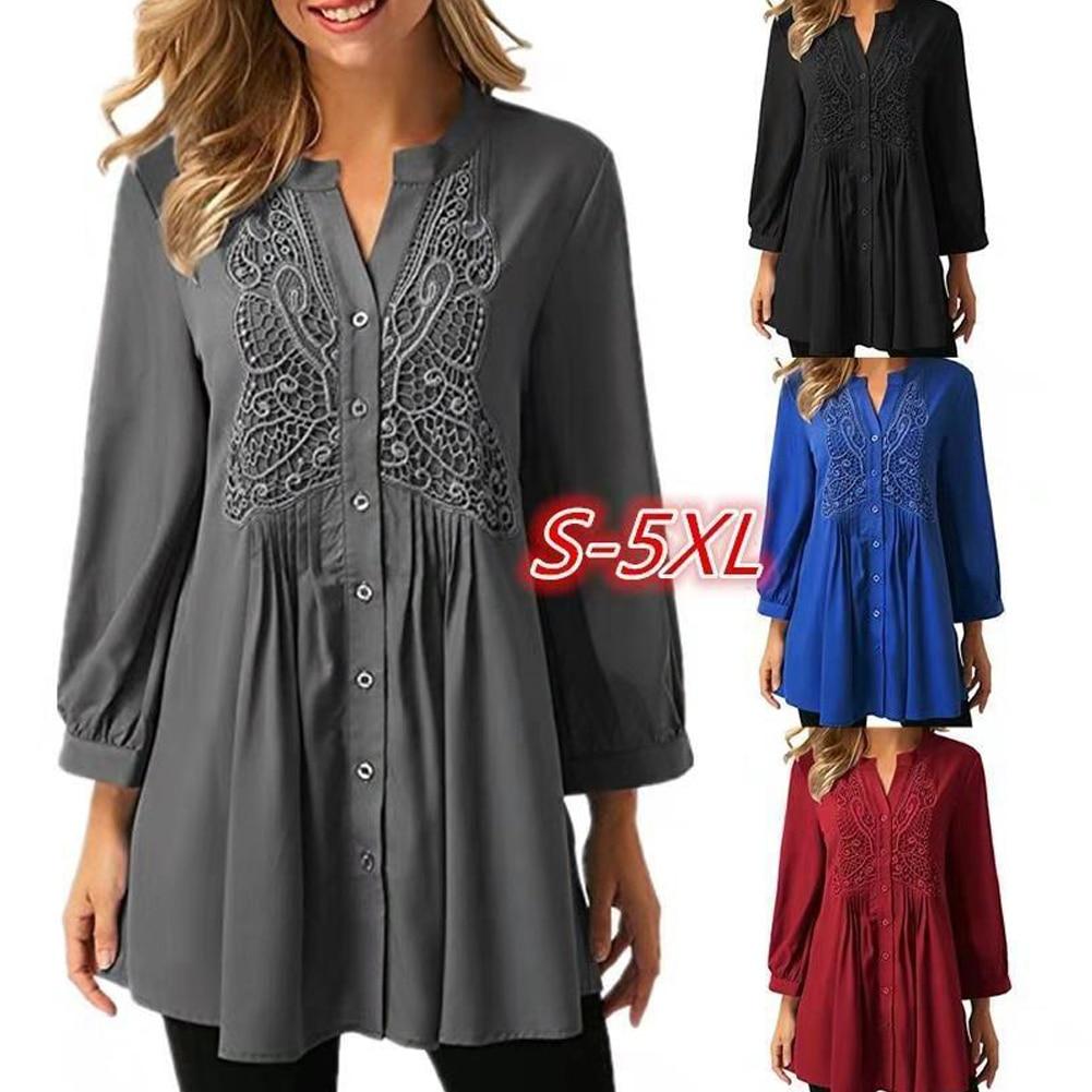 OL Lady Lace Crochet Blouses Winter Long Sleeve Women Button Long Blouses Shirt Chiffon Lace Plus Size S M L Xl 2xl 3xl 4xl 5xl