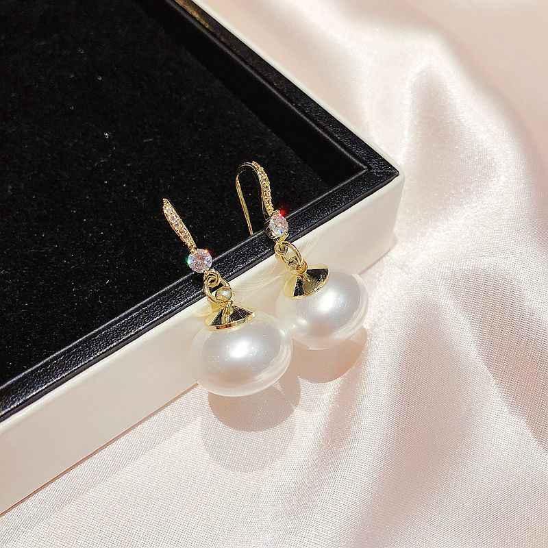 Exquise grande simulée perle boucles d'oreilles couleur or Zircon cristal pavé boucles d'oreilles femmes bijoux