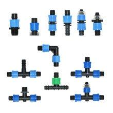 5 pces 16mm conectores de fita de irrigação gotejamento t cotovelo extremidade plug conector de reparo agrícola irrigação de poupança de água mangueira comum