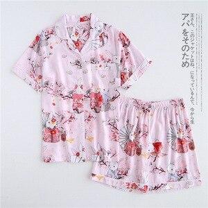 Image 5 - Verão rayon shorts pijamas conjuntos feminino pijamas japonês fresco floral manga curta conjuntos de pijamas feminino