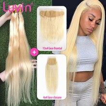 Em linha reta 28 30 32 34 40 Polegada brasileiro remy tecer cabelo humano 613 loira 3 4 pacotes com hd fechamento de renda transparente