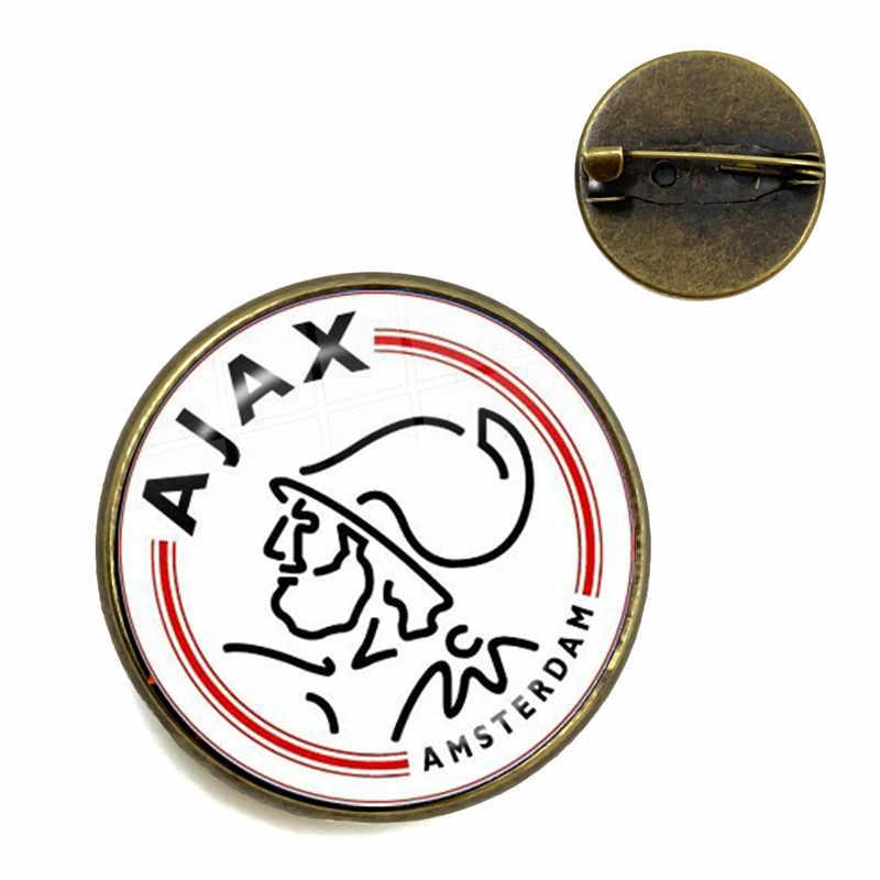 AJAX Futbol Takımı Logosu Cam Cabochon Broş Eredivisie Ligleri Logo Futbol Kulübü Yaka Pimleri Hayranları Için Hediye
