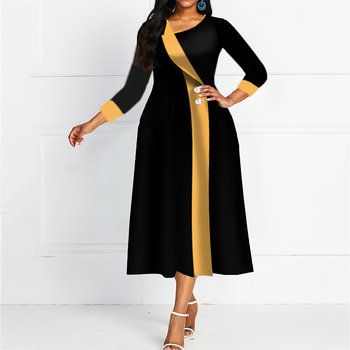 Blue Ankle Length 3/4 Sleeve Pullover A-line Dress Black Elegant Office OL Lady Empire Party Soliad midi Dress female Prom Dress