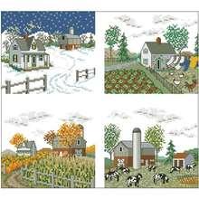 Четыре сезона узоры на ферме вышивка крестиком 11ct 14ct 18ct