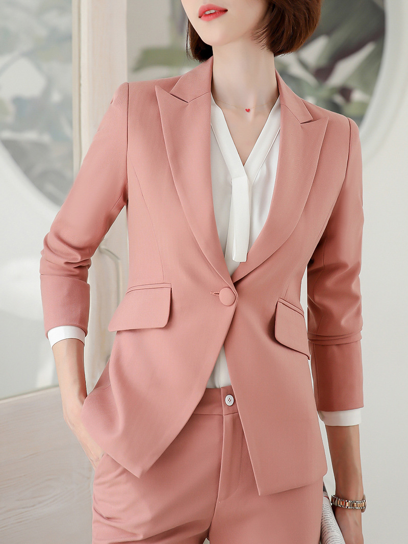 Professional women's suit office pants suit 2019 new slim single button pink blazer and wild trousers two-piece Trendy Skirt Set