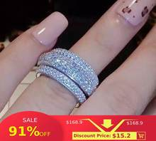 Choucong Wieck Voll Pflastern AAA Zirkonia 925 Sterling Silber Simulierte steine Frauen Hochzeit Engagement Band Ring Size5-11(China)