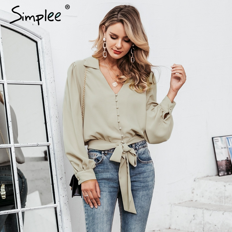 Simplee Office Ladies Short Blouses Shirts V Neck Lantern Sleeve Sash Bow Tie Female Blouse Autumn Winter Buttons Women Top 2019