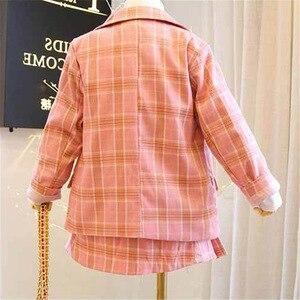 Image 2 - 2019 Autumn New Arrival Girls Fashion Pink Suit Kids 2 Pieces Sets Coat+skirt Children Clothes  Kids Clothes