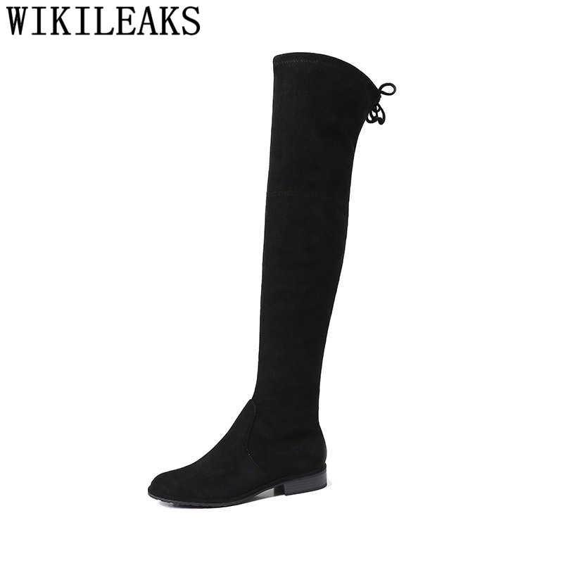 Moda por encima de la rodilla botas sexy mujer botas negras botas de invierno mujeres botas mujer invierno 2019 scarpe donna