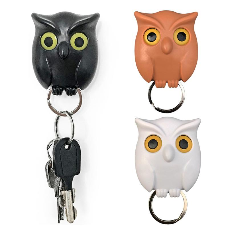 1PCS Night Owl Black white brown Magnetic Wall Key Holder Magnets Keep Keychains Key Hanger Hook Hanging Key It Will Open Eyes(China)