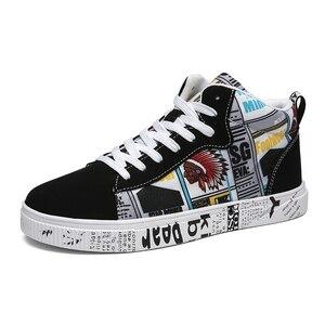 Разноцветные мужские туфли с высоким берцем; Женские кроссовки; Повседневная обувь с граффити; Модные мужские кроссовки со шнуровкой на ске...