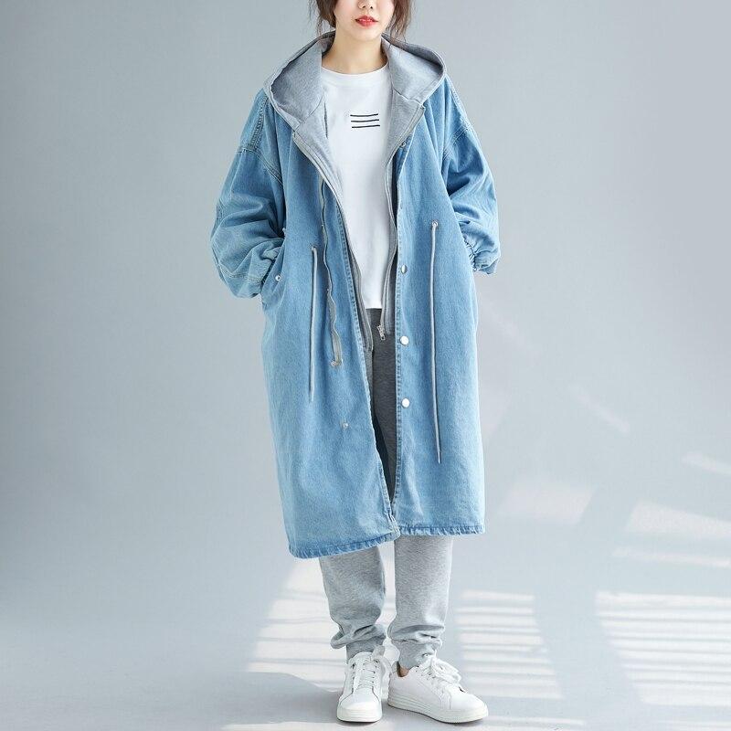 SuperAen Fake Two-piece Casual Denim   Trench   Coat for Women Wild Fashion Ladies Windbreaker Autumn New 2019 Women Clothing