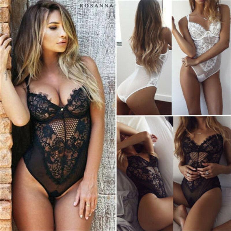 Women Sexy-Lace-Bodysuit-Lingerie-Sleeveless-V-Neck-Stretch-Leotard-Jumpsuit-Top-Vest Sleep Underwear