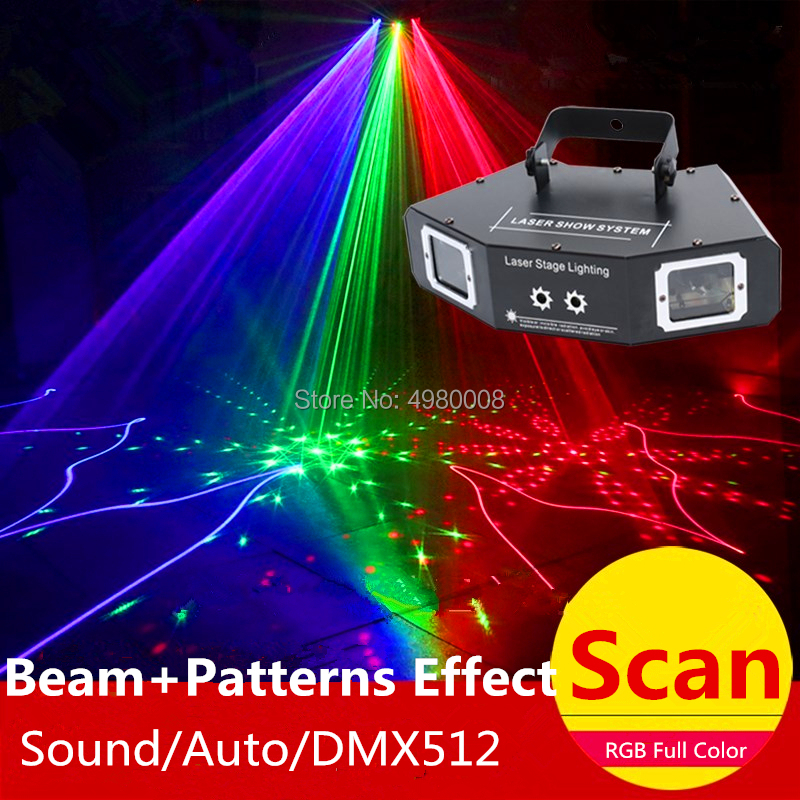 4 Lens Scan Laser Light RGB Full Color Lines Beam With Pattern Laser Home Party DJ Great Effects Stage Light DMX Scan Projector - 6