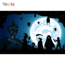 Yeele Happy Halloween Backdrop Witch Magician Tomb Bat Moon Castle Customized Vinyl Photography Backgrounds For Photo Studio