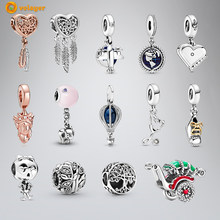 Volayer 925 Sterling Silver Beads Heart Feathers Dreamcatcher Traditional Rickshaw Charms fit Original Pandora Bracelets