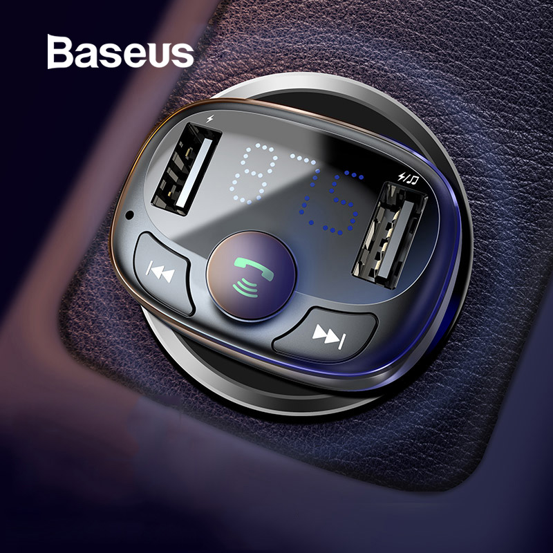 Baseus Car Charger for iPhone Mobile Phone Handsfree FM Transmitter Bluetooth Car Kit LCD MP3 Player Dual USB Car Phone Charger steering wheel phone holder