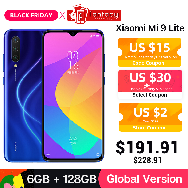 Em estoque Versão global Xiaomi Mi 9 Lite 6 GB 128 GB 48MP Câmera tripla Smartphone Snapdragon 710 Octa Core 32MP frontal 4030mAh NFC